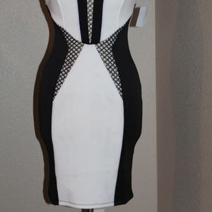 Mystic Dresses - Mystic Strapless Cocktai Dress Black White Fitted
